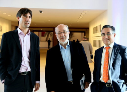 From left to right: MEPs Jordi Solé, Josep Maria Terricabras and Ramon Tremosa (by ACN)