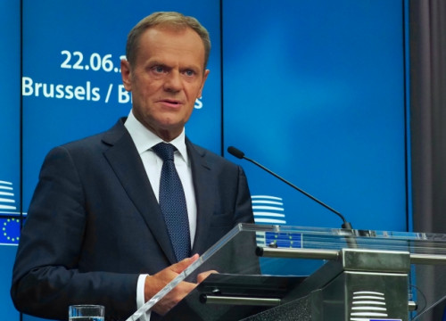 EU Council president Donald Tusk (by Nazaret Romero)