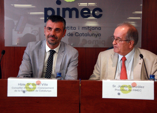 The Minister for Business and Knowledge Santi Vila with PIMEC president Josep González