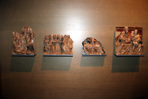 Four original artworks from the Sigena monastery photographed at the Lleida Museum in July 2017 (by Salvador Miret)