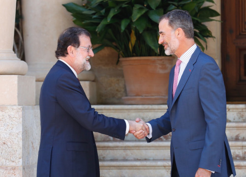 Spanish president Mariano Rajoy and king Felipe VI