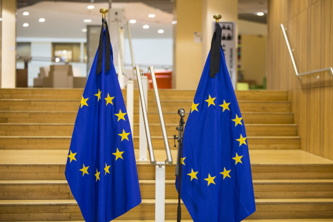 European Union's flags in Brussels