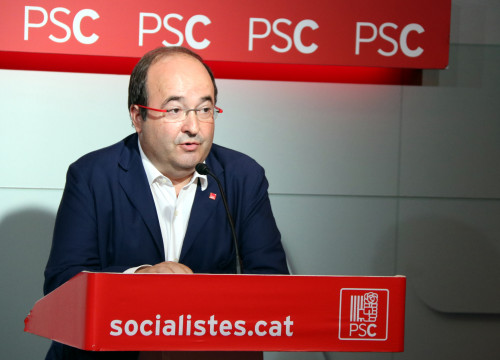 Miquel Iceta (PSC) during Monday's press conference (by ACN)