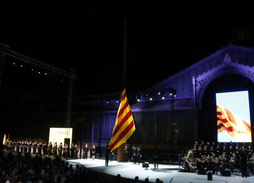 The raising of the Catalan flag during the September 10 institutional event (by ACN)