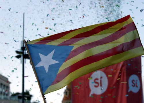 A Catalan independence flag, known as 'estelada' in Catalan (by Núria Julià)
