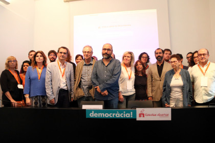 Group photo of the organizers of the Open Schools project to guarantee the polls remain open for the October 1 referendum vote
