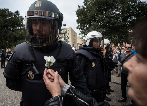 Voter holding a flower in front of a police officer in the October 1 referendum (by Carles Palacio)