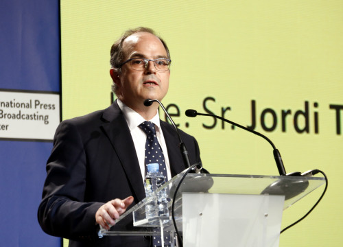 Catalan government spokesperson Jordi Turull speaks at a press conference on October 1 (by ACN)