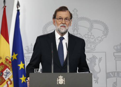 Mariano Rajoy speaking at a press conference on Sunday (by ACN)