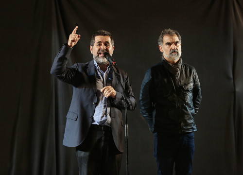 Jordi Sànchez and Jordi Cuixart on day of October 1 independence referendum (ACN)