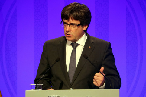 The Catalan president, Carles Puigdemont, during his press conference this Monday