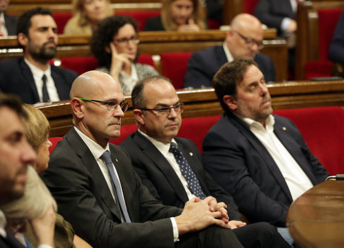 From left to right: former Catalan ministers Raül Romeva, Jordi Turull, and Oriol Junqueras (by Jordi Play)