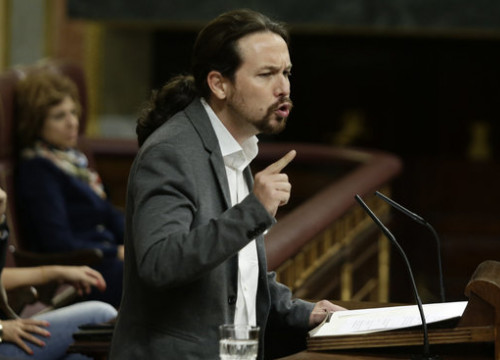Podemos leader Pablo Iglesias at the Spanish Parliament (by Spanish Parliament)