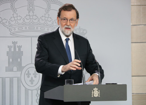 The Spanish president, Mariano Rajoy, during his statement this Saturday