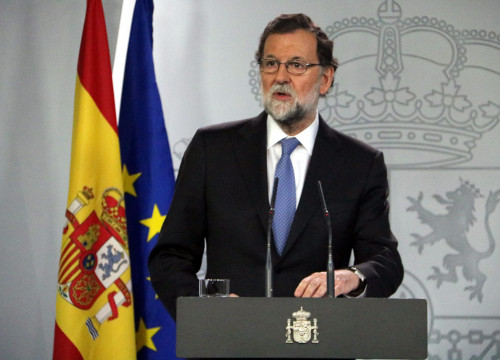 The Spanish President, Mariano Rajoy, during his statement (by ACN)