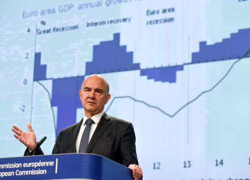 European Commissioner for Economic and Financial Affairs Pierre Moscovici presenting presenting economic forecast (by ACN)