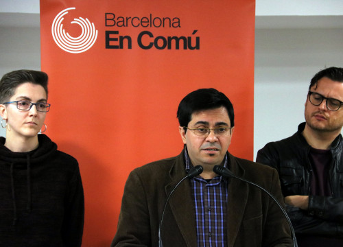 Barcelona deputy mayor Gerardo Pisarello and Barcelona in Common spokesperson Enric Bárcena on November 12 2017 (by ACN)