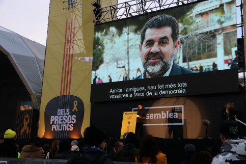 Jordi Sànchez broadcast at a Together for Catalonia event on Friday (by ACN)