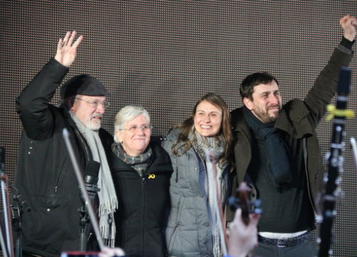 From left to right, deposed Catalan ministers Lluís Puig, Clara Ponsatí, Meritxell Serret and Toni Comín in Brussels on December 7 2017 (by Blanca Blay)