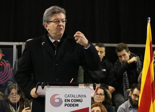 The leader of France insoumise, Jean Luc Mélenchon, in Catalonia, in December 2017 (by Gemma Sánchez)