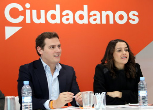 Former Ciutadans leader Albert Rivera and Inés Arrimadas (by Tània Tàpia)