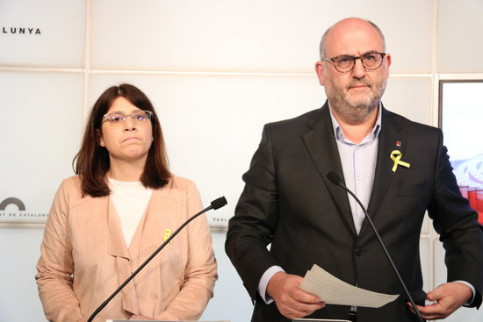 Together for Catalonia spokespeople Eduard Pujol and Gemma Geis (by Bernat Vilaró)