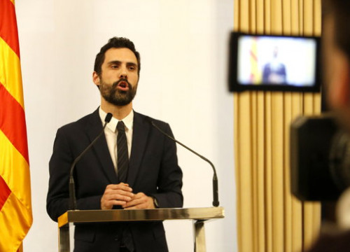 Roger Torrent during his statement on Friday afternoon
