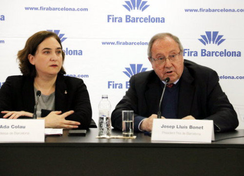 Mayor of Barcelona, Ada Colau, with general director of the Fira de Barcelona, Constantí Serrallonga (by ACN)