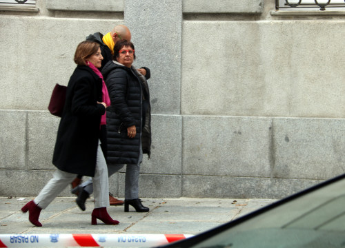 Raül Romeva, Dolors Bassa and Carme Forcadell arrive at the Spanish Supreme Court in Madrid on March 23 (by ACN)