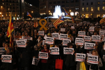 Protest in Barcelona center against imprisonment of leaders (by Laura Fíguls)