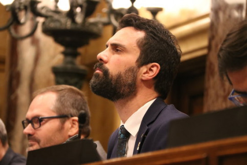 Catalan parliament speaker Roger Torrent during the plenary on April 5 2018 (by Bernat Vilaró)