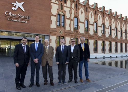 Representatives of IrisCaixa and Grifols at Cosmo Caixa on Friday (by ACN)