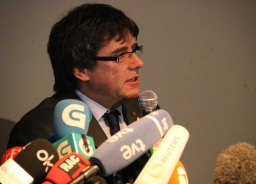 Carles Puigdemont at a press conference in Berlin (by Guifre Jordan)