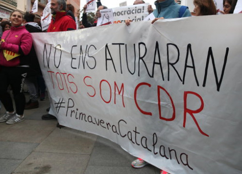 Image of a banner in favor of the CDR group during a rally in Viladecans after Tamara Carrasco's arrest in April 2018 (by Gemma Sánchez)