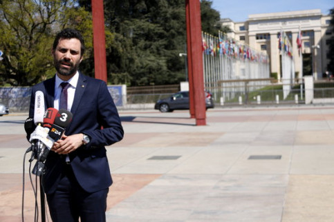 Roger Torrent, outside UN headquarters in Geneva
