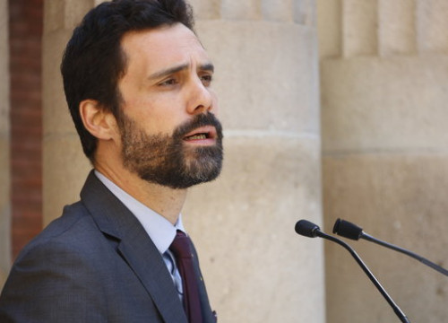 The Catalan Parliament speaker Roger Torrent during the event before Sant Jordi on April 20 2018 (by Rafa Garrido)