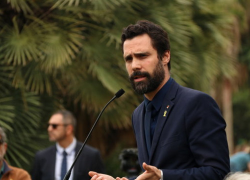 Parliament speaker Roger Torrent during the commemoration for the 73rd anniversary of WWII on May 8 2018 (by Núria Julià)