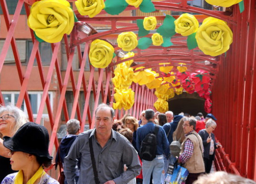 The Pont de ferro bridge in Girona covered in flowers for Temps de Flors this May 12 2018 (by Gerard Vilà)