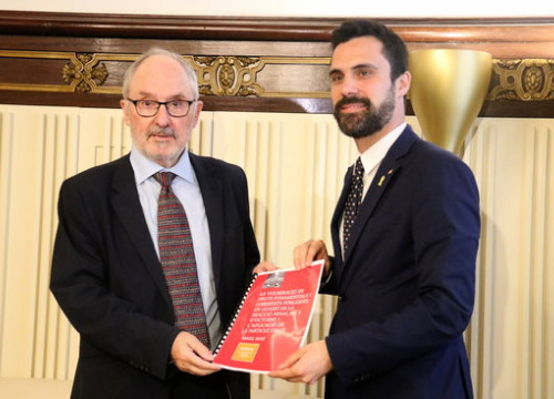 Catalan ombudsman Rafael Ribó (left) and parliament speaker Roger Torrent (by Laura Batlle)