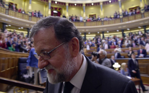 Former Spanish president Mariano Rajoy upon losing the vote of no confidence (by ACN pool)