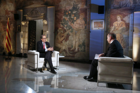 The Catalan president, Quim Torra, being interviewed in the Catalan public TV on June 3, 2018 (by Ruben Moreno)