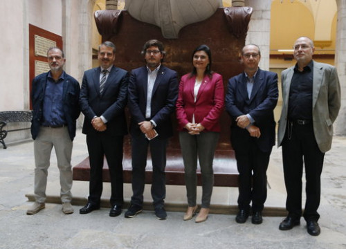 Commissioner for the Mediterranean Games Javier Villamayor, the organizer for the Cultural Programming of the Games Elisa vedrina, and the director of the Pau Casals Foundation Jordi Pardo, among others, on June 6 2018 (by Sílvia Jardí)