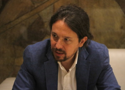 Spain's Podemos leader, Pablo Iglesias, during his meeting with the Catalan president, Quim Torra (by Rafa Garrido)