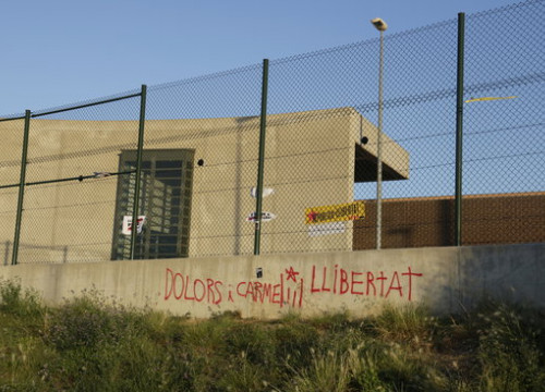 A wall from Puig de les Basses prison, northern Catalonia, shortly after two leaders where moved there on July 4, 2018 (by Marina López)