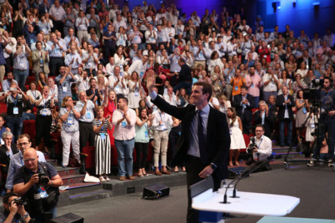 Pablo Casado speaks at the PP congress to appoint a new leader on July 21 2018 (by PP)
