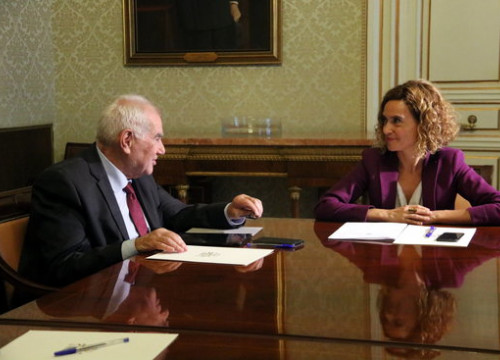 Catalan minister Ernest Maragall with Spanish minister Meritxell Batet in Madrid (by ACN)