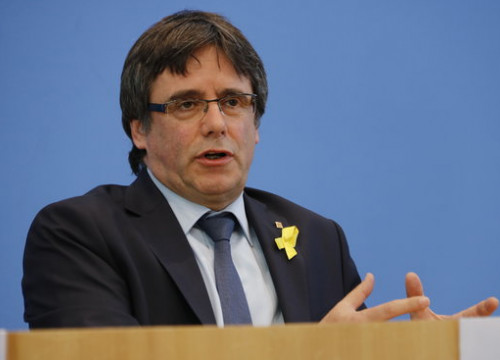 Carles Puigdemont during a press conference in Berlin in July 2018 (by Guillem Roset)