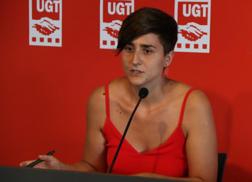 The spokeswoman of the youth section of UGT trade union, Elena Ferrero, on August 16, 2018 (by Carlos Vázquez)