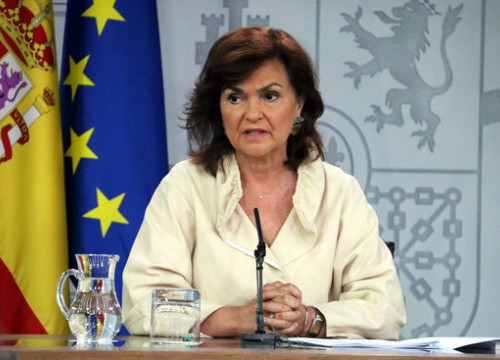 The Spanish vice president Carmen Calvo, after the cabinet meeting on August 24 (by Tània Tàpia)