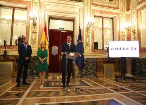 The Spanish president, Pedro Sánchez, presenting the constitution's 40th anniversary events (by Congreso)